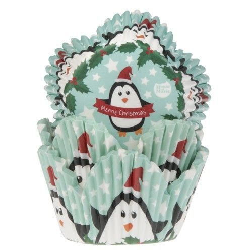 HOUSE OF MARIE BAKING CUPS TULIP WITH XMAS PENGUINS PK/50