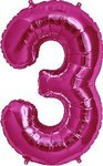 "Folienballon Nummer in Fuchsia: ""3"", 66cm"