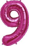 "Folienballon Nummer in Fuchsia: ""9"", 66cm"