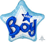 "CELEBRATE BABY BOY HELIUM BALLOON RAISED ""BOY"" 3D"