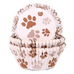 HOUSE OF MARIE BAKING CUPS PAW BROWN PK/50