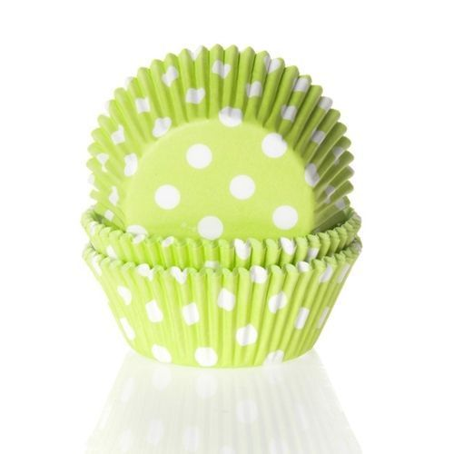 HOUSE OF MARIE BAKING CUPS POLKADOT LIME GREEN - PK/50