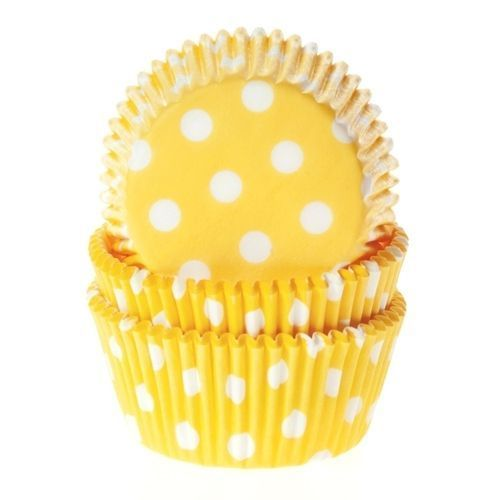HOUSE OF MARIE BAKING CUPS POLKADOT YELLOW - PK/50